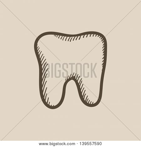 Tooth vector sketch icon isolated on background. Hand drawn Tooth icon. Tooth sketch icon for infographic, website or app.