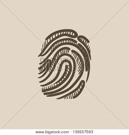 Fingerprint vector sketch icon isolated on background. Hand drawn Fingerprint icon. Fingerprint sketch icon for infographic, website or app.