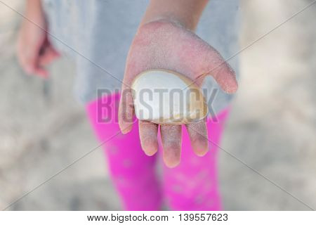 Close Up Of A Little Girl Holding Sea Shells In Her Hands