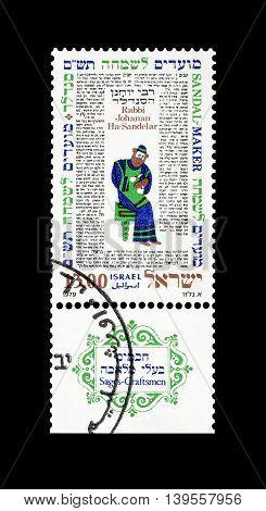 ISRAEL - CIRCA 1979 : Cancelled postage stamp printed by Israel, that shows Rabbi Johanan Ha Sandelar.