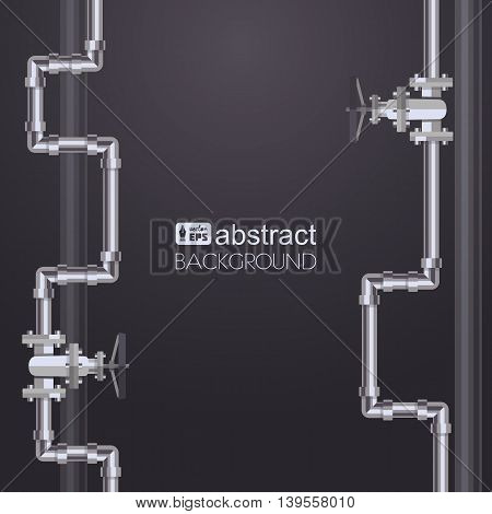 Abstract vertical background with flat designed pipeline. Concept for web newsletters water wastewater or oil pipeline industry. Vector illustration.
