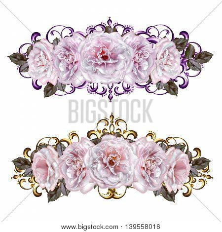 Flower garlands of pastel pink roses. Golden weaving delicate composition old style. Isolated.