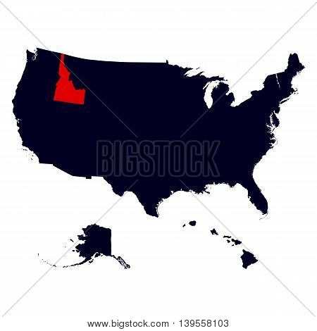 Idaho State in the United States map vector