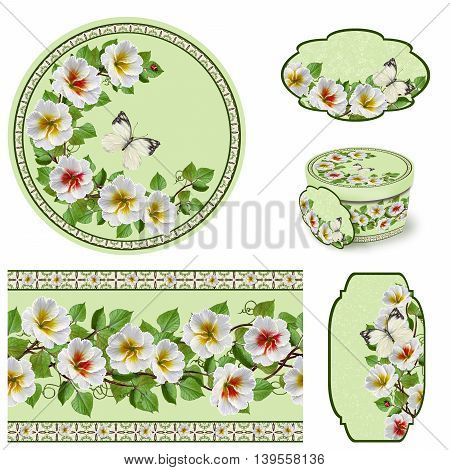 Set for packaging. Box round. Label. decoupage. Floral background. Flower border. Pattern. Mosaic. Flower garland of white primroses.