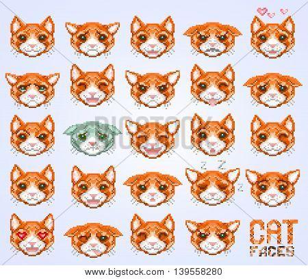 cat emoticon cat face set vector illustration
