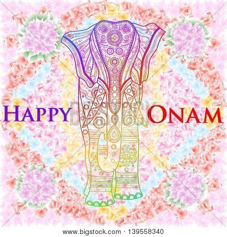 Elephant On Flower Background For Indian Festival, Happy Onam Celebration.