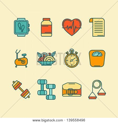 Vector set of color flat line icons for personal trainer program includes sports equipment objects for gym training bodybuilding and active lifestyle. Fitness elements isolated on background.