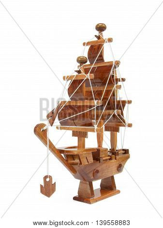 Wooden argosy model isolated on white background