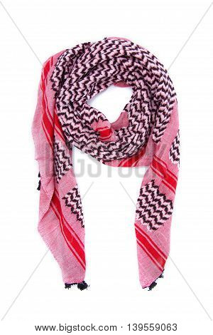 Pink arabic scarf isolated on white background