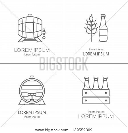 Line vector collection of beer and brewing process. Modern symbols of brewing process for all kinds of beer-related companies.