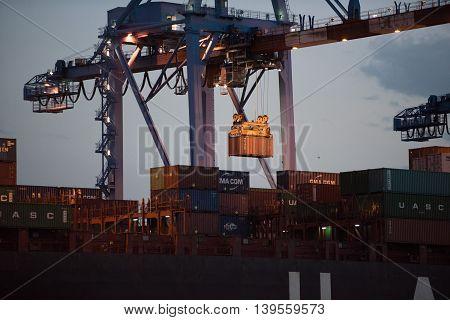 Genoa, Italy - July 22 2016 - Night Harbor Operation