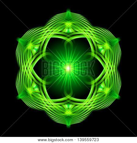 Green shiny glossy flame ornate decorative floral pattern with image of the sun in the center on the black background. Six patterns in different directions.