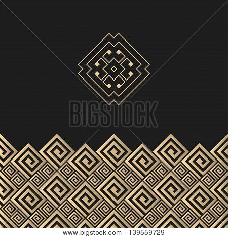 Vector geometrical background. Geometric greek design. Card with golden meander ornament and sign concept.