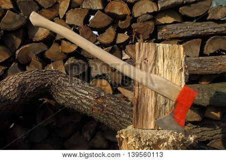 An axe, surrounded by many kinds of logs, resting on a chopping block. One piece of wood is ready for being split, but there are four little ladybugs, protesting against the destruction of their spot.
