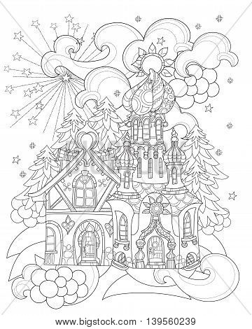 Vector cute christmas fairy tale town doodle.Hand drawn line illustration.Sketch for postcard or print or coloring anti stress adult book.Boho zen art style.