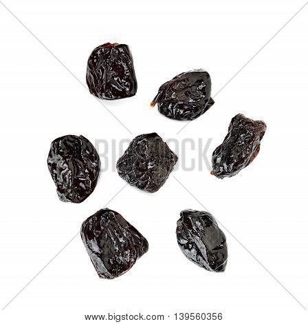 Dried Prune Isolated On The White Background