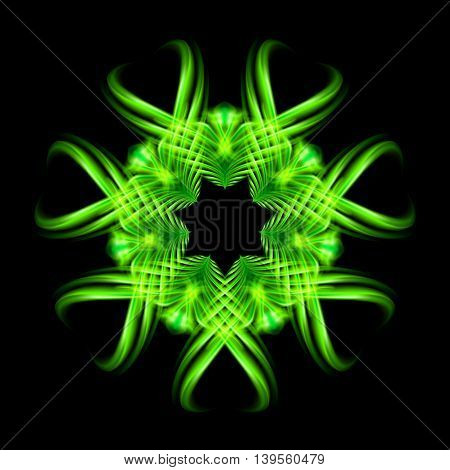 Green fire ornate decorative rhythmic flamy smudge floral pattern on the black background. Six patterns in different directions.