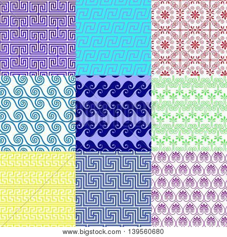Vector set of ethnic Greek geometric and floral patterns. Seamless collection . Greek meander ornamental style.