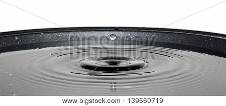 Close up shot of a water drolet falling into a pan