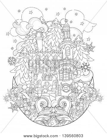 Vector cute christmas fairy tale town doodle on moon.Hand drawn line illustration.Sketch for postcard or print or coloring anti stress adult book.Boho zen art style.
