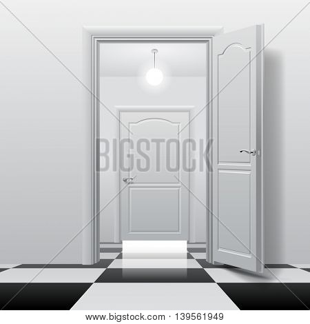 Rooms with opened and closed doors on the glossy chess floor. Interior concept design in black and white colors. Vector illustration