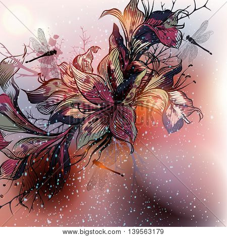 Beautiful vector background with lily flowers in engraved style
