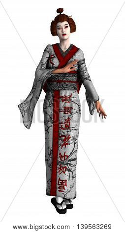 3D rendering of a beautiful geisha isolated on white background