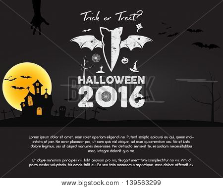 Happy Halloween 2016 Poster. Trick or treat letters and halloween holiday symbols - bat, pumpkin, hand, witch hat, spider web and other. Retro banner, party flyer design. Vector illustration.