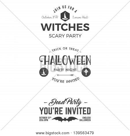 Halloween 2016 party invitation label templates with scary symbols - witch hat, bat and typography elements. Use for party posters, flyers, invitations, t-shirt, tee design, apparel. Vector.