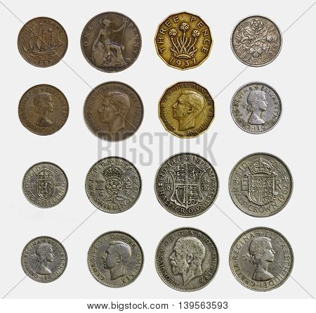 Isolated Set of Pre Decimal English Coins