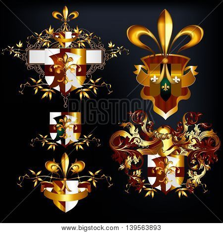 Collection of vector heraldic shields in golden luxury style