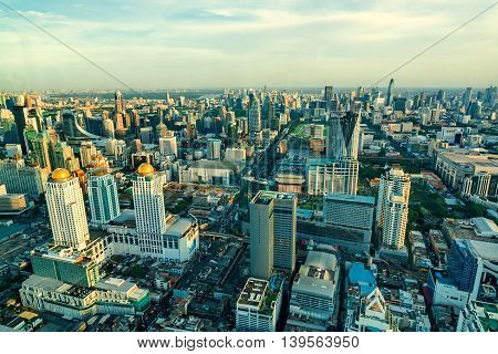 Bangkok Cityscape, Business district with high building at sunshine day, Bangkok, Thailand