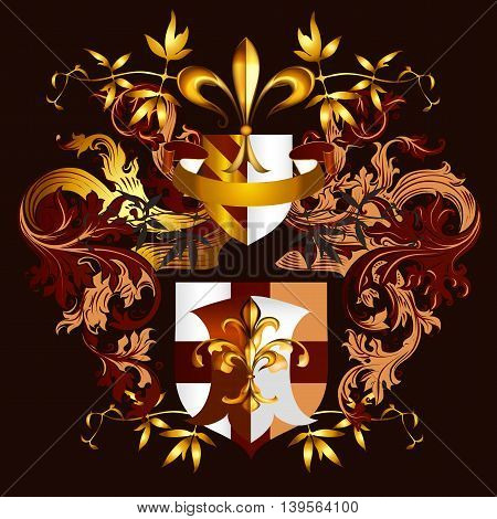 Heraldic vector design with shield fleur de lis ornament and crown. Golden color luxury style