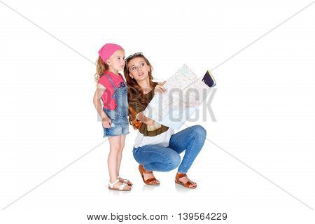 Woman And Little Girl  With The Map