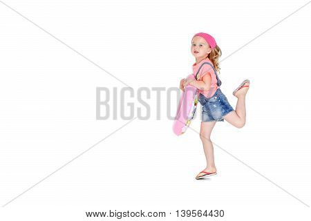 happy child with inflatable rubber circle having fun. isolated white background