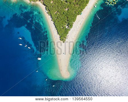 Aerial view Zlatni rat beach in Bol, Island Brac, Croatia