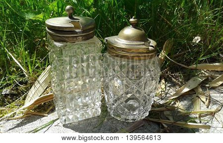 Collectable cut glass and pewter miniature bottles, perfume or condiments