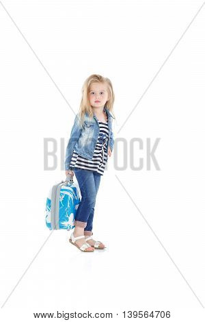 Child With Blue Suitcase