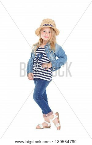 Girl In A Striped Shirt And Hat