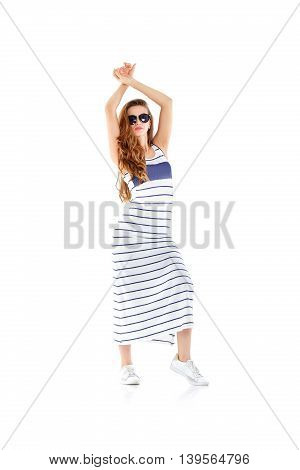 Woman In Sunglasses And  Dress