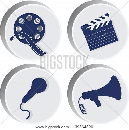 Movie Set of icons.The silhouettes of the attributes of the movie.