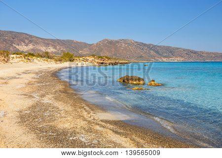 View of Beautiful Elafonissi Beach on Crete Greece