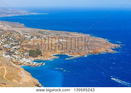 View of Chora Sfakion town on Crete Greece