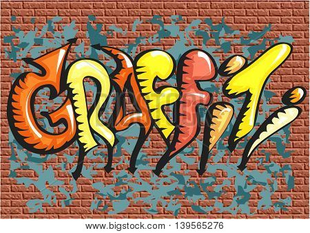 graffiti. abstract multicolor text on brick wall
