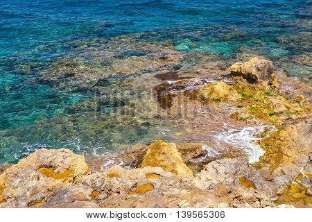 Rocky coast of Crete island in Greece