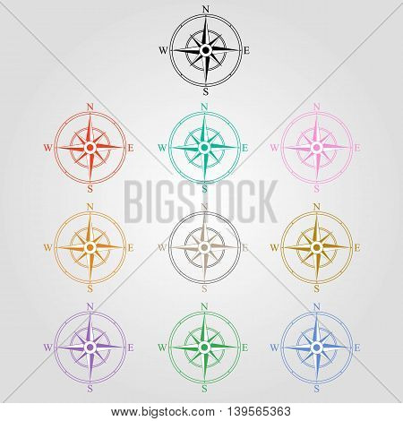 Compass rose vector Icons. navigation and traveling signs. travel icons