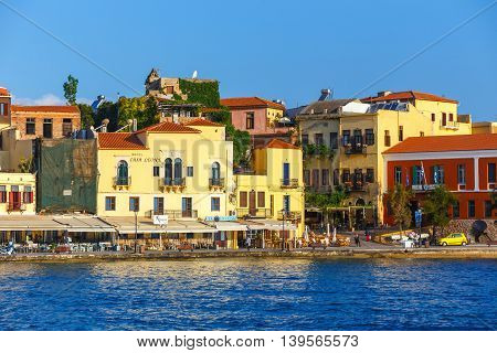 Chania, Crete - 25 Maj, 2016: Morning View Of The Old Port Of Chania On Crete, Greece. Chania Is The