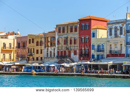 Chania, Crete - 25 Maj, 2016: View Of The Old Port In Chania, Greece. Chania Is The Second Largest C
