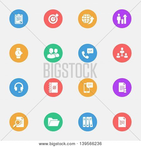 Business flat icons on the color substrate set