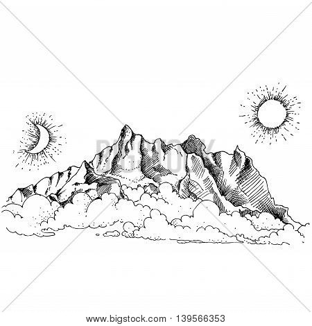 Hand drawn vector landscape with fog and mountains. sketch. vector eps 8